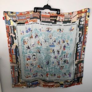 """He Yin Beijing City Printed 100% Silk Scarf 41x41"""""""